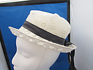 White Lace And Straw Hat With Ribbon