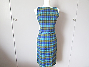 Vintage Plaid Blue And Green Wool Suit