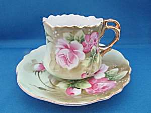 Lefton Rose Cup And Saucer