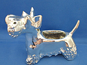 Silver Glazed Scottish Terrier Planter