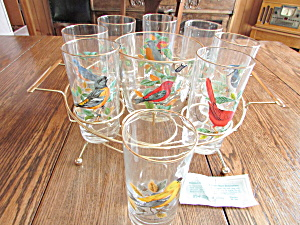 West Virginia Glass Bird Bar Set