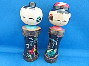 Hand Carved And Painted Oriental Wooden Figurines