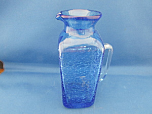 Hand Blown Blue Crackle Glass Pitcher