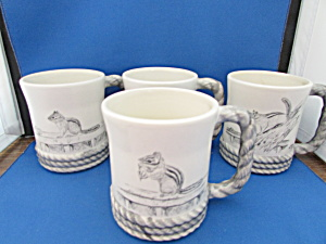 Four Hand Painted Squirrel Mugs