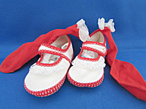 Infants Red And White Shoes With Red Socks