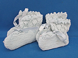 Two Pairs Of Hand Knitted And Crochet Booties