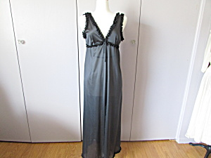 Long Black Lace Trimmed Negligee