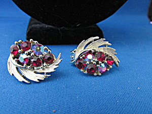 Red Rhinestone Clip On Earrings From Lisner