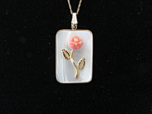 Mother Of Pearl And Coral Necklace