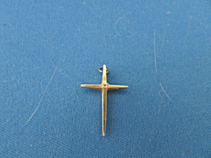 14k Gold Cross With Small Diamond Pendant