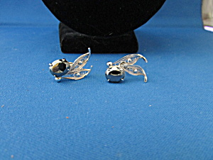 Sterling Silver And Hematite Screw On Earrings
