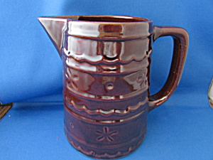 Hull Brown Daisy And Dot Stoneware Milk Pitcher