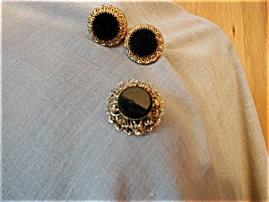 Onyx Brooch/necklace And Earrings