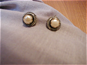 Faux Pearl and Silver Earrings (Image1)