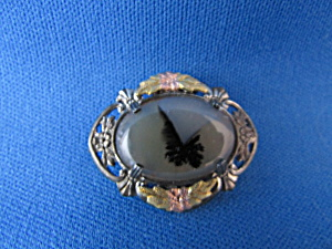 Sterling Silver And Black Hills Gold Agate Brooch