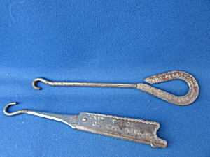 Two Advertising Button Hooks