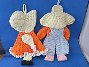 Bonnet Girl And Hat Boy Crocheted Post Holders