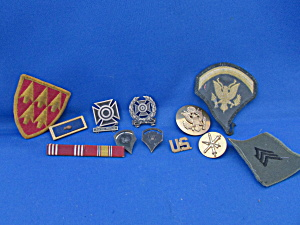 Group Of Military Patches, Bars, And Pins