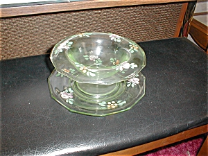 Green Depression Glass Bowl And Plate