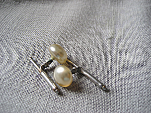 Faux Pearl Cuff Links