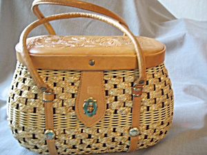 Leather Handle and Lid Wicker Purse (Image1)