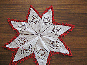 Red And White Star Doily