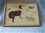 Click here to enlarge image and see more about item 1241WL: Dog and Lamb Marquetry Wood Picture