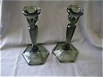 Green Fenton Candle Holders