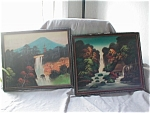 Click here to enlarge image and see more about item 1368: Hand Painted Oriental Silk Pictures in Frame