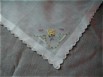 Linen Handkerchief with Yellow Flower