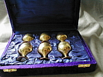 Click here to enlarge image and see more about item 2444: Brass Glass Set in Velvet Case