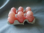 Click here to enlarge image and see more about item 2577: Six Chick Candles in an Egg Carton