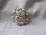 Blue Rhinestone and Faux Pearl Brooch