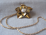 Tin and Rhinstone Flower Necklace