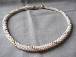 Faux Pearl and Gold Bead Necklace