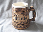 Click here to enlarge image and see more about item 2954: Porcelain Barrel Beer Mug