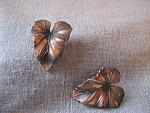 Copper Leaf Clip On Earrings
