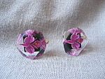 Lucite Purple Flower Earrings
