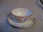 Click here to enlarge image and see more about item 3344: Hand Painted Cup and Saucer