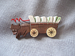 Wooden Painted Covered Wagon Brooch