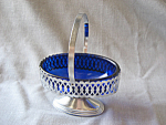 Colbalt Blue Glass and Aluminum Basket