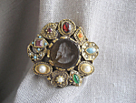 Goldette Cameo and Stone Brooch