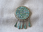 Sterling Silver Enamel Brooch from Taxco