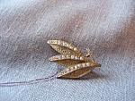 Rhinestone Leaf Brooch