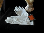 Leather Look White Gloves