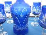 Click to view larger image of Blue Overlay Glass Decanter and Glasses (Image3)