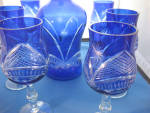 Click to view larger image of Blue Overlay Glass Decanter and Glasses (Image5)