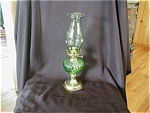 Click here to enlarge image and see more about item 565WR: Hand Blown Green Miniture Oil Lamp