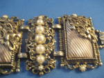 Click to view larger image of Large Antique Silver and Faux Pearl Bracelet (Image2)