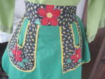 Click here to enlarge image and see more about item 6400: Green Flower Apron